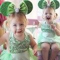 Lantejoulas Bebê Grils Rompers 2016 Nova Vestido Estilo Encantador Um Macacão Peças de Tule Menina Romper Do Bebê Desgaste do Verão Casual