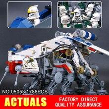 NOVA LEPIN 05053 Star Wars 1788 pcs Dropship República com AT-OT Walker Modelo blocos de Construção Tijolos Compatíveis 10195 de Brinquedo de Presente