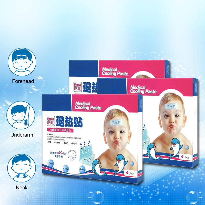 Antipyretic Sticker Baby Cooling Gel Sheets 4pcs/lot Ice Cool Pad Fever Reducing Cooling Patch Medical Fever Paste for Child image
