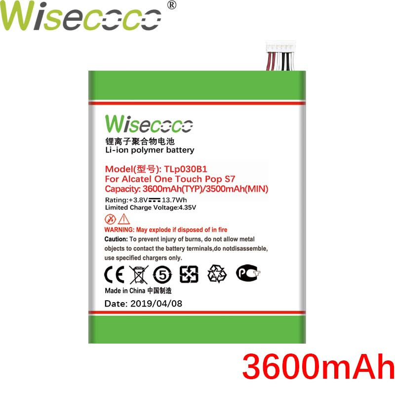 Wisecoco TLp030B1 TLp030B2 3600mAh New Battery For ALCATEL One Touch Pop S7 / <font><b>7045Y</b></font> / 7045D / 7045A / Flash 2 / 7049D Phone image