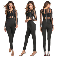 2017 European and American new perspective outfit pure color conjoined capris zipper