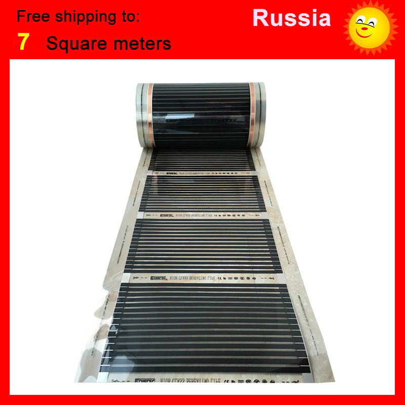 Russia free shipping, 7 Square meter floor Heating film, AC220V infrared heating film 50cm x 14m electric heater for room united kingdom free shipping 50 square meter infrared heating film with accessories under floor heating film 50cmx100m