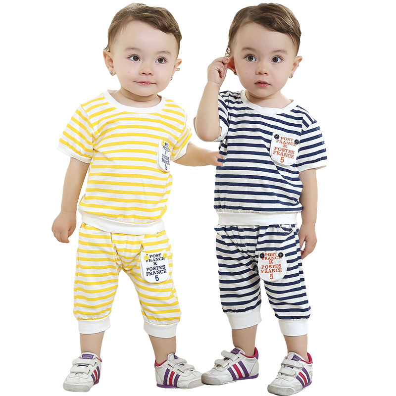 Anlencool 2017 Free shipping children's summer stripe short sleeve suit boys baby clothing sets baby summer suits
