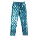 2016  girls simulation mermaid cute pants leggings colorful digital printing summer style child leggings 11 colors
