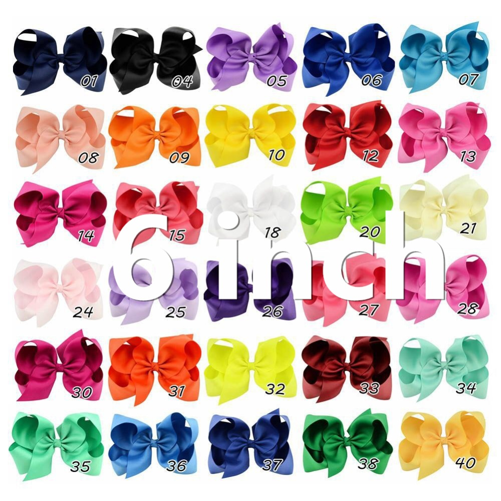 Adorable Smile 30 Colour Solid Handmade Bows 6 inch Ribbon Hair Bows With Clip Girls Hair Accessories image
