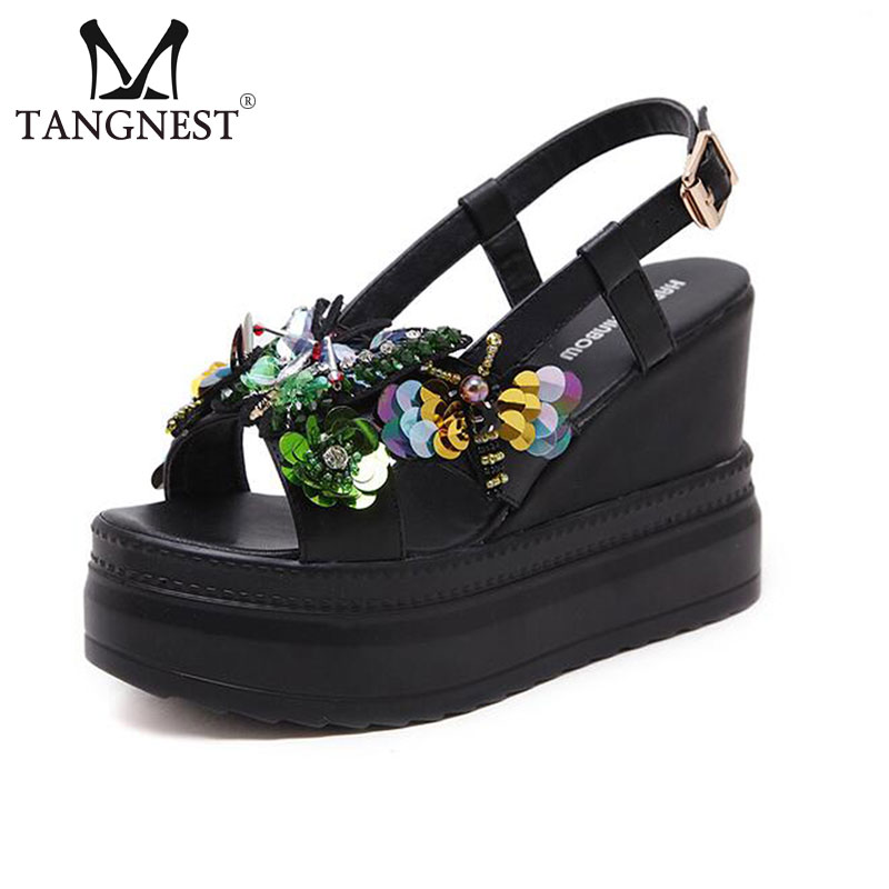 Tangnest NEW Summer Women Gladiator Sandals Bling Glitter 10 CM Height Platform Shoes Fashion Beach Buckle Strap Sandals venchale 2018 summer new fashion sandals wedges platform women shoes height heel 10 cm buckle strap casual cow leather sandals