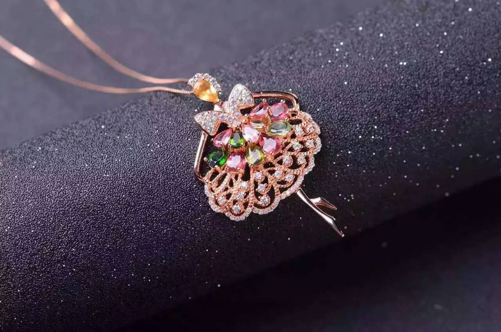 natural multicolor tourmaline pendant S925 silver Natural gemstone Pendant Necklace trendy Dancing girl fairy women gift jewelry natural tourmaline pendant s925 silver natural gemstone pendant necklace elegant friendship boat lucky women girl gift jewelry