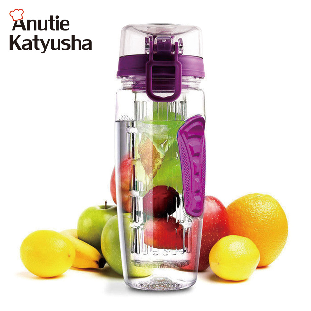 1000ML BPA Free Fruit Infuser Juice Shaker Lemon Water Bottle Space Bottle Fruits Column Kettles Portable Climbing Camp Bottles