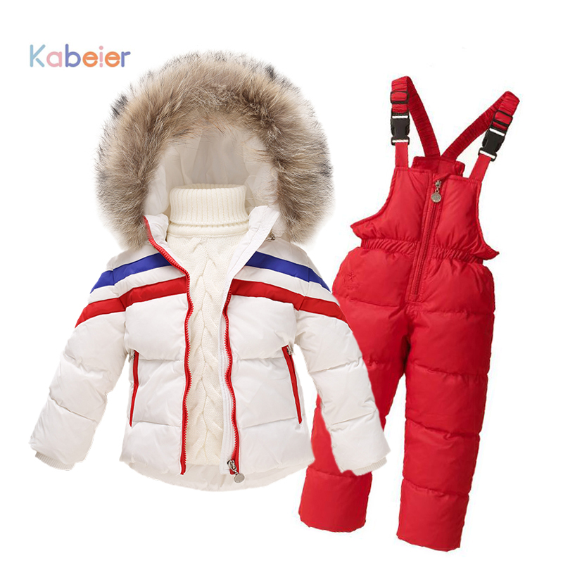 Ski Suit For Girls Boys Winter Striped Clothing Set Cardigan Down Coat+overalls Sport Suit 2019 Girls Winter Set Child Costume