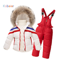 Лыжный костюм для девочек мальчиков зима полосатый комплект одежды кардиган вниз пальто + комбинезоны спортивный костюм 2016 девушки зима детский костюм