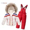 Conjunto de roupas terno de esqui para meninos meninas inverno listrado cardigan casaco para baixo + macacão terno do esporte 2016 meninas conjunto inverno traje criança