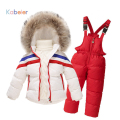 ski suit for girls boys winter striped clothing set cardigan down coat+overalls sport suit 2016 girls winter set child costume
