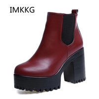 2017 New Women Boots Platform High Heels Ankle Boots Women Fashion Ladies Pumps Sexy Shoes Woman