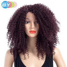 BY Hair Synthetic Lace Front Wigs Middle Part 16inch Kinky Curly 99J Color Wigs For Women 150% Density One Piece(China)