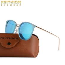 KEITHION Fashionable polarized sunglasses womens round retro coated metal frame tinted driving glasses