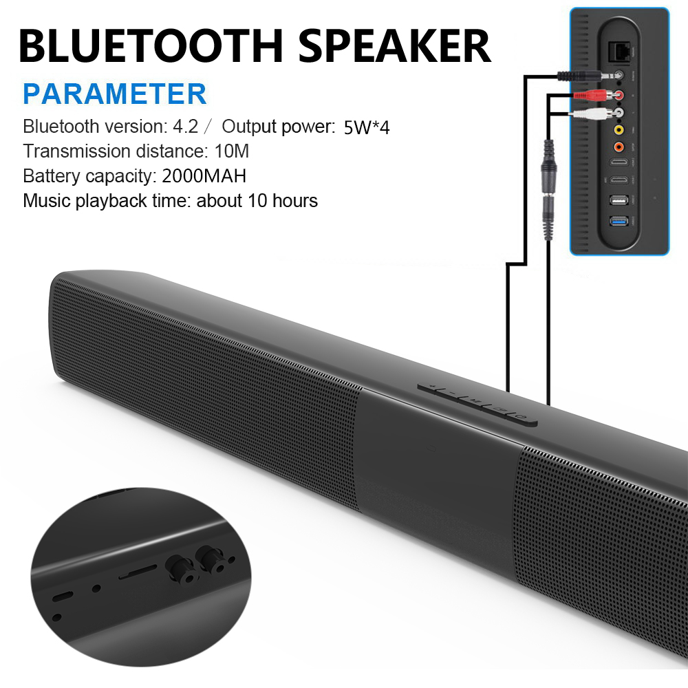 Speaker Subwoofer Soundbar Remote-Control 20w Bluetooth Home Theater Computer Portable