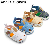 Купить с кэшбэком Adela Flower Baby Boy Sandals Fashion Style Baby Summer Shoes Breathable Soft Sole Denim Baby Sandals Boys 0-18M bebek sandalet