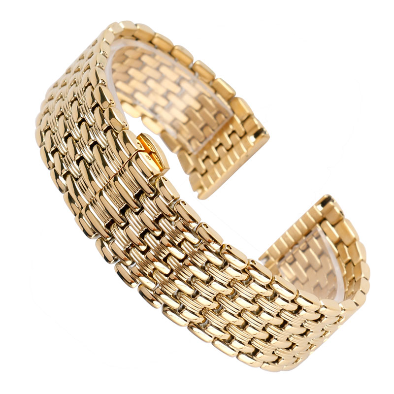 Luxury Stainless Steel 18/20/22mm Watchband Yellow Gold Strap Push Button Hidden Clasp Solid Link Adjustable + 2 Spring BarsLuxury Stainless Steel 18/20/22mm Watchband Yellow Gold Strap Push Button Hidden Clasp Solid Link Adjustable + 2 Spring Bars