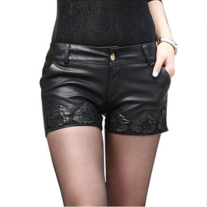 2019 Summer Sexy Women PU Shorts Black Washed leather Womens Shorts Lace printing Leather Shorts Fashion Mini Shorts Female N748