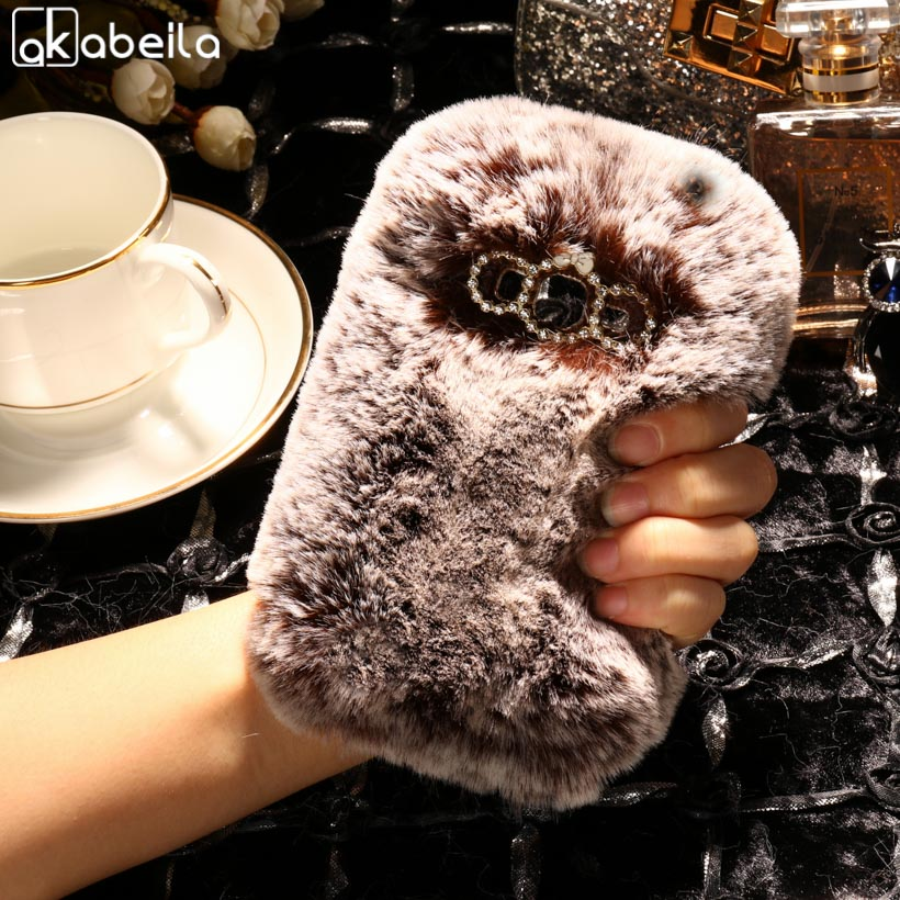 AKABEILA Silicone Phone Cover For Samsung Galaxy J1 Mini Prime J106F/DS J106B/DS J106H/DS V2 SM-J106 Case Rabbit Fur Hair Cover