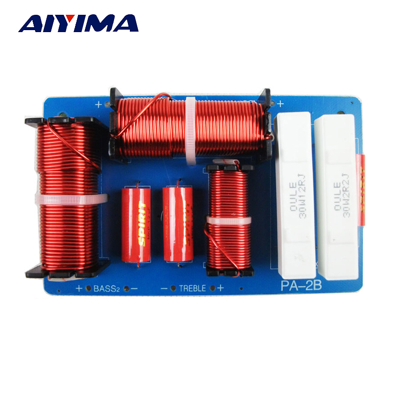 Aiyima 1PC Audio Speaker 2 Way Frequency Divider 4 8ohm HIFI 2 Unit Crossover Filters 500W