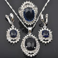 Noble Blue Stone Zirconia For Women Stamped 925 Sterling Silver Jewelry Sets Pendant Necklace Earrings Rings Free Shipping JS044