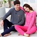 Новая Осень зима Теплая Пара пижамы пижамы множеств 100% Хлопок женщин пижамы Любители Зимних пижамы полоса стиль пижамы