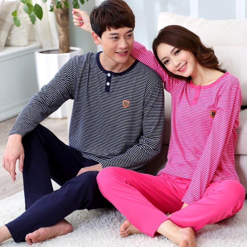 New Autumn winter Warm Couple sleepwear pajama sets 100% Cotton women pajamas Lovers Winter pyjamas stripe style sleepwear