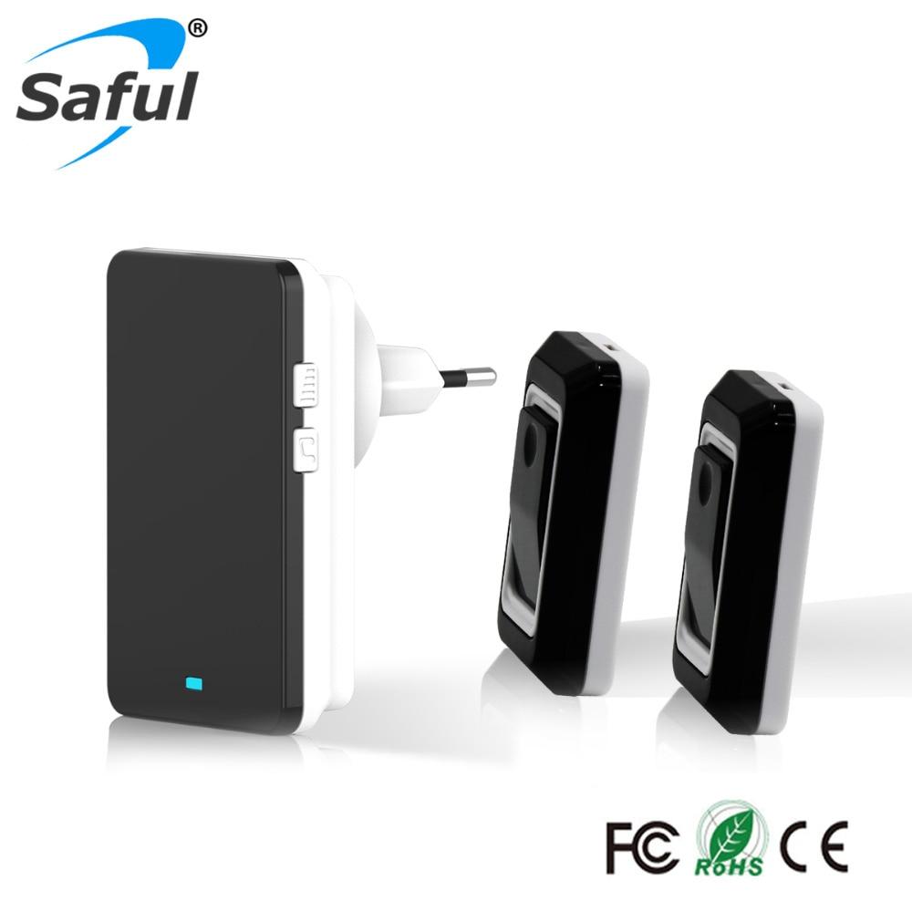 Free Shipping Waterproof EU/US/AU/US Plug-in Wireless Doorbell with 2 Outdoor Transmitter + 1 Indoor Doorbell Receiver us