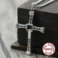 Authentic S925 sterling silver pendants Classic retro men's personality pendant Inlaid ebony handcrafted version of the cross