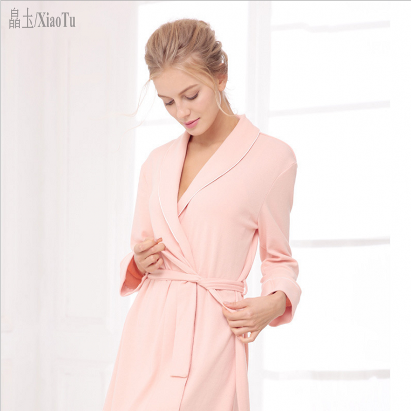 2019 Spring Brand Robes Women Soft Cotton Cashmere Robes Ladies Long Sleeve  V-neck collar Robe with Sashes Female Slim Bathrobe