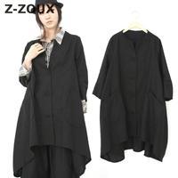 Z ZOUX Women Blouses Seven Sleeve Cotton Linen Black Shirt Women Tops Plus Size Loose Long Irregular Shirts Womens Tunic Shirts