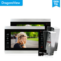 Dragonsview 7 Inch Metal Video Intercom Video Door phone 2 monitors 2 Doorbell with camera Motion detection recording Touch Key