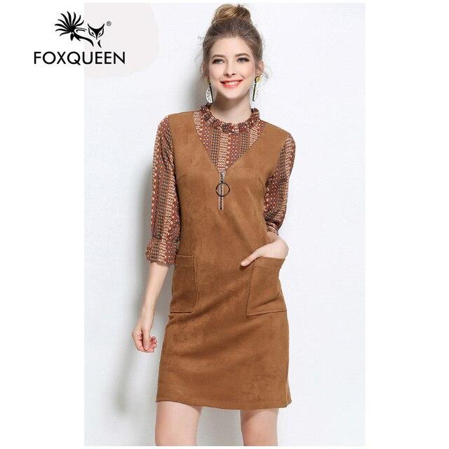 Foxqueen 2017 Весной Новые Женщины Моды Замши Slim Dress Большой Размер 4XL 5XL Высокое Качество Бесплатная Доставка 3205