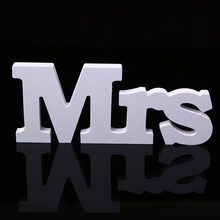 1set Plastic White Letters Wedding Sign Decal Mr & Mrs Romantic Chair signs Hanging Standing Top Table Wedding Party Decoration(China)