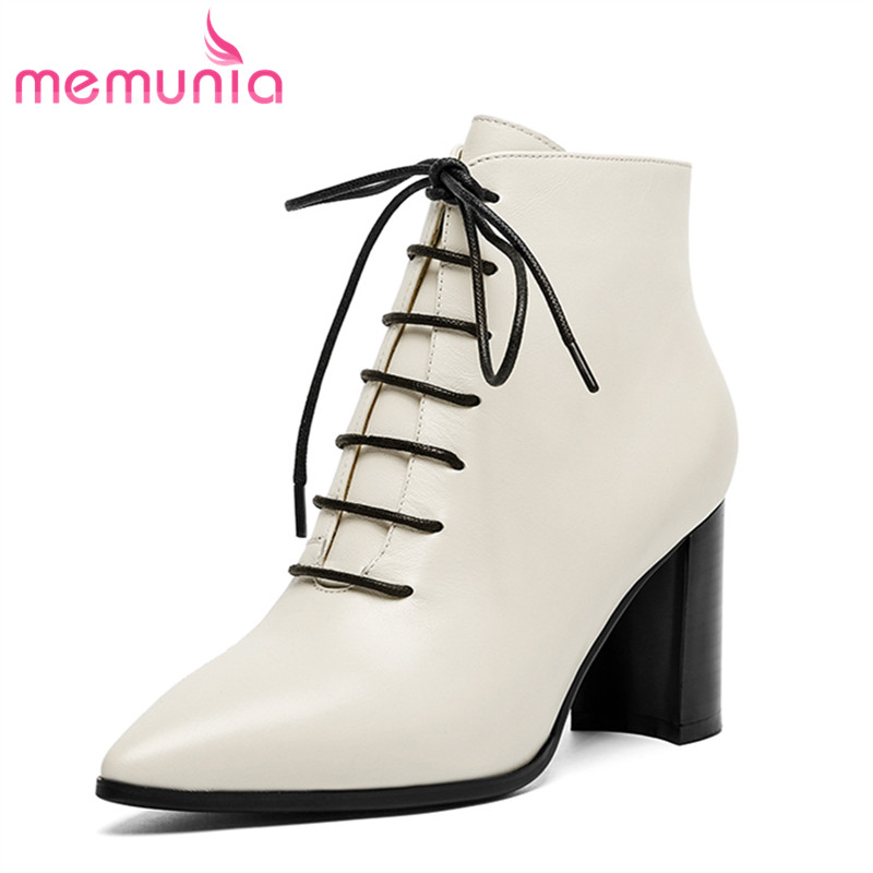 MEMUNIA women fashion new arrival lace up ankle boots leisure autumn winter boots hot sale genuine leather boots ladies shoes 2017 new fashion lace up women boots genuine leather square heel black autumn winter sexy brand ladies ankle boots women shoes
