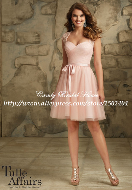 42f7a9646abb Keyhole Back Sexy Modern Lace Cap Sleeve Pink Bridesmaid Dress Short  Wedding Guest Dresses with Sashes BD142