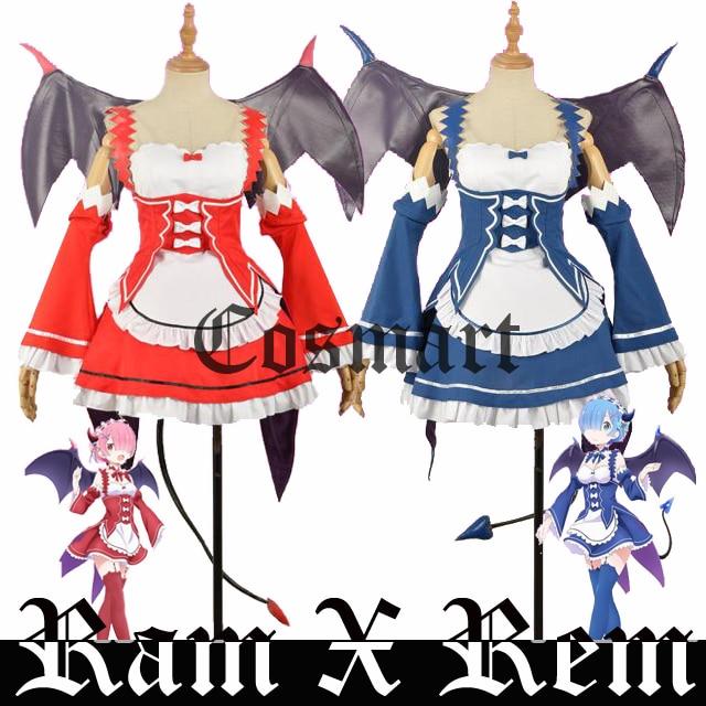 Здесь продается  New!!Anime Re: Life a Different World from Zero Ram Rem Gothic Vamps Bat Maid Dress+Wings Halloween cosplay costume for women  Одежда и аксессуары