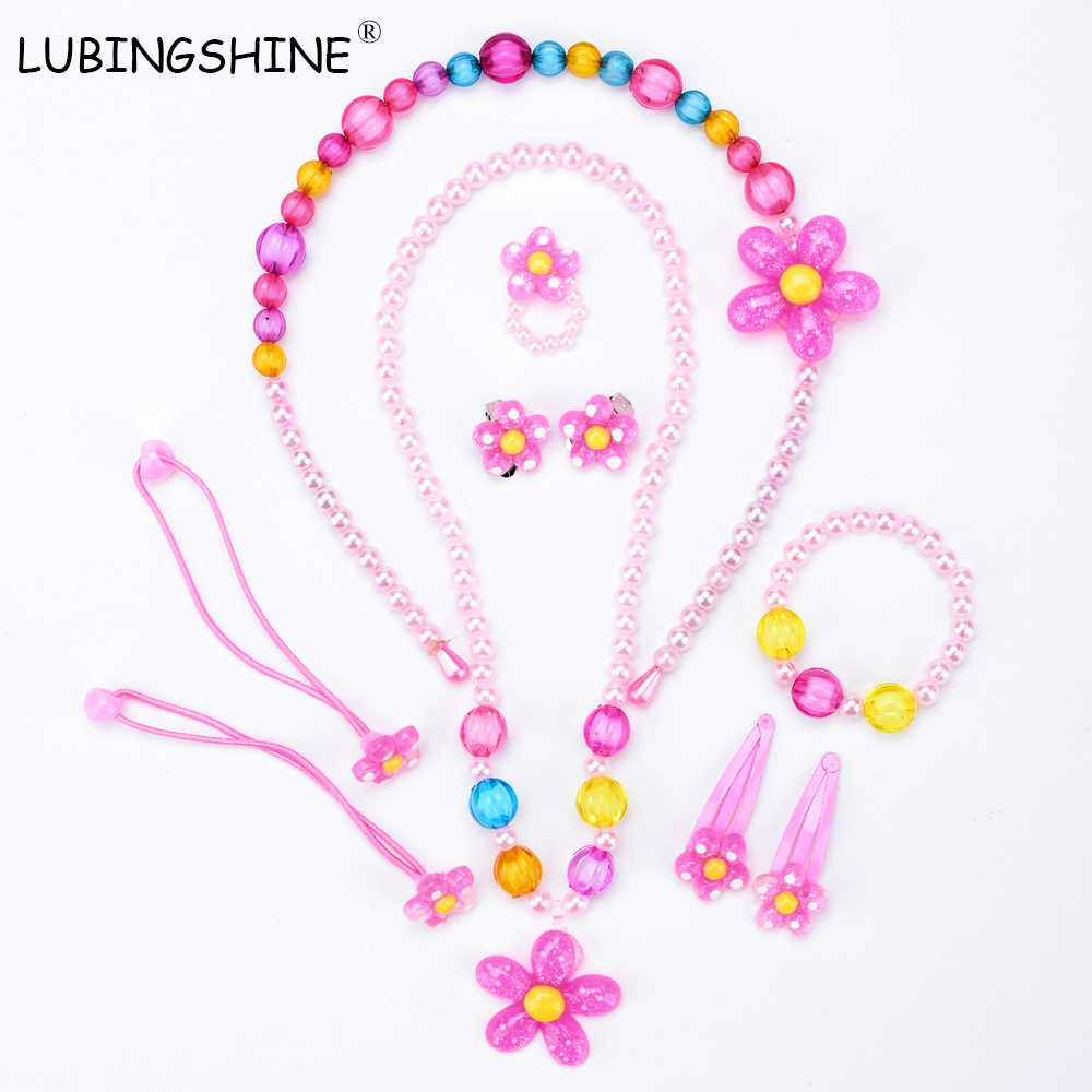LUBINGSHINE Resin Imitation Pearl Earring Necklace Bracelet Finger Ring Hair decoration Jewelry Set For Children Party JJAL T218