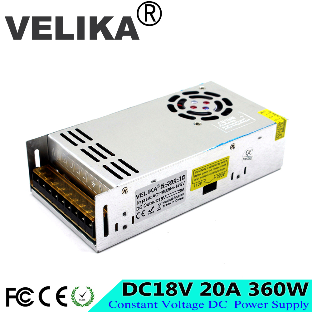fonte 18v 20A 360W dc power supply Switching Switch Driver Transformer 110V 220V AC-DC SMPS DC18V for LED Strip Light CCTV CNC 翻轉 貓 砂 盆