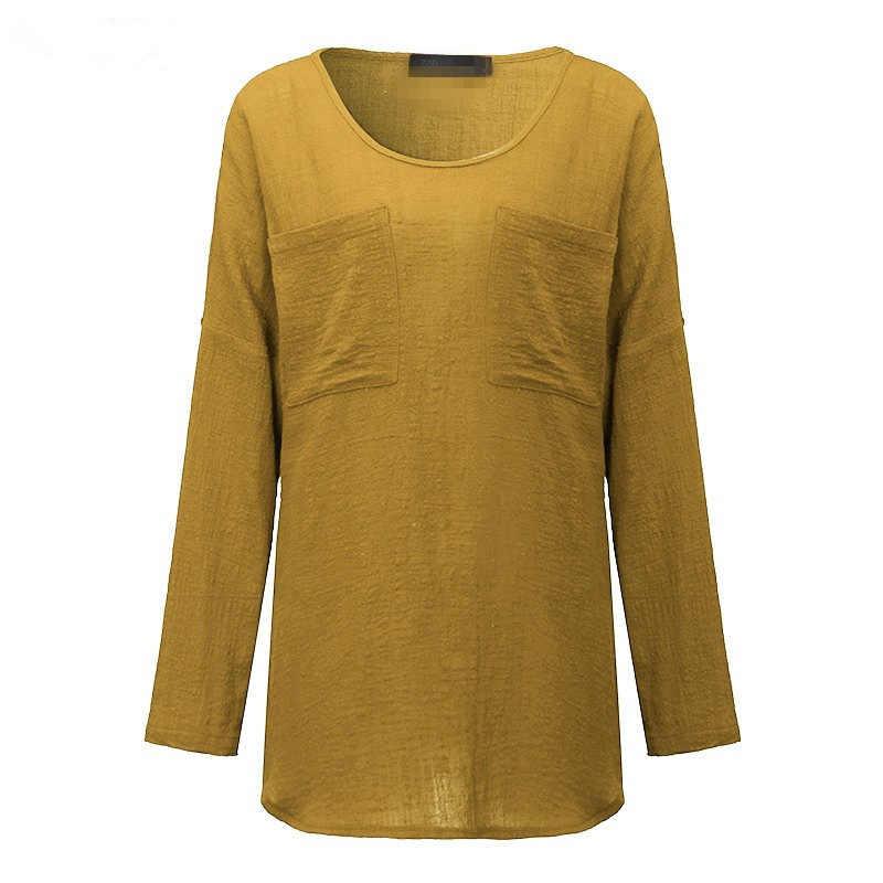 Женские рубашки с карманами Осенние повседневные Элегантные блузки с круглым вырезом женские Топы Camisa Feminina черные женские блузки с длинным рукавом рубашки
