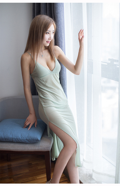 cb07d7596651 Women Lady Sexy Deep V Neck Dress Light Green Mesh Yarn Sling Sleeping Wear  Temptation Transparent