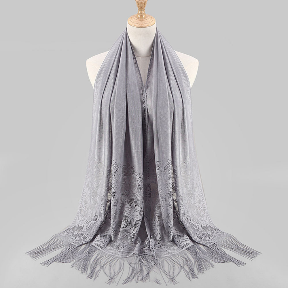 Hijabs Women Muslim Islamic Tassel Lace Hollow Long Hijab Scarf Shawl Wrap D90404