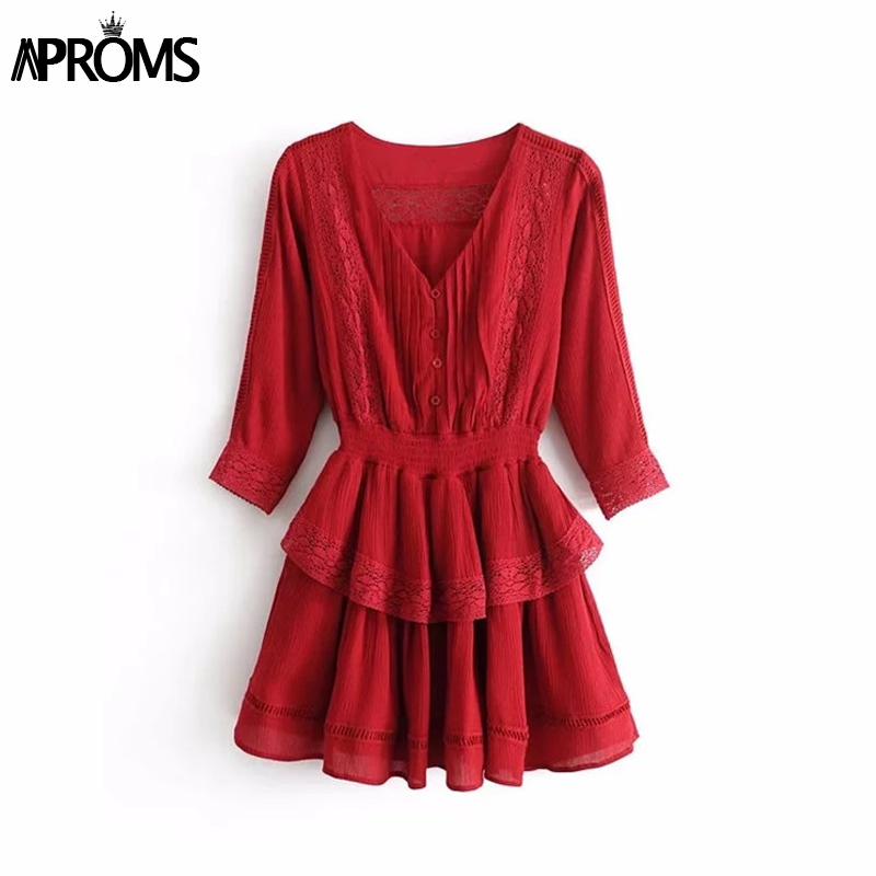Aproms Ruffle Lace Patchwork Red Short Dress Women Sexy V Neck Buttons Down Casual 3 4