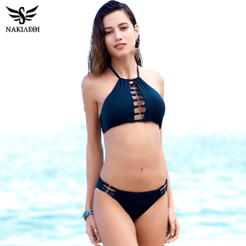 NAKIAEOI Sexy High Neck Bikini Women Swimsuit Swimwear 2018 Summer Halter Brazilian Bikini Set Cut Out Beach Bathing Suit Black