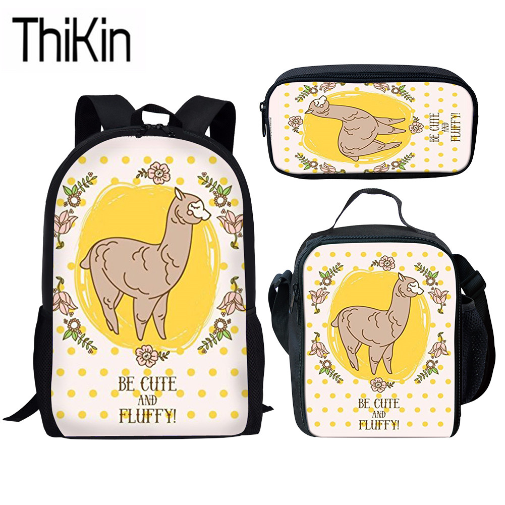 THIKIN Cute Girls Alpaca Printing School Bags For Kids 3pcs/set Bag Back To School Backpack Children Primary Bookbags Students