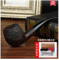Black rosewood carved wood pipe Vintage heather filter yuba curved pipe tobacco smoking Authors men's genuine