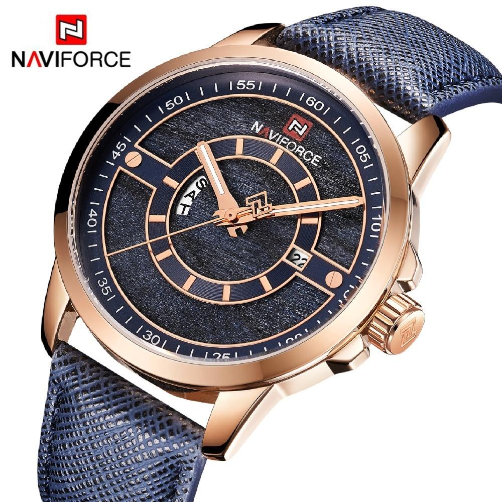 3cedfb70ae8a Reloj NAVIFORCE para hombre 3 ATM resistente al agua marca superior de cuero  de lujo reloj de pulsera hombre fecha semana cuarzo moda reloj azul envíos  ...