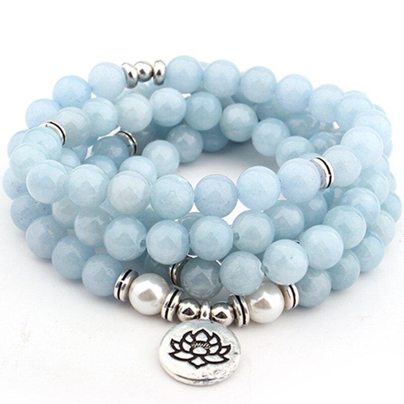 DIEZI Drop Verschiffen 2018 Neue Mode 108 Mala Perlen Sky Blue lotus Strang Armband Yoga Armband Halskette Für Frauen Schmuck
