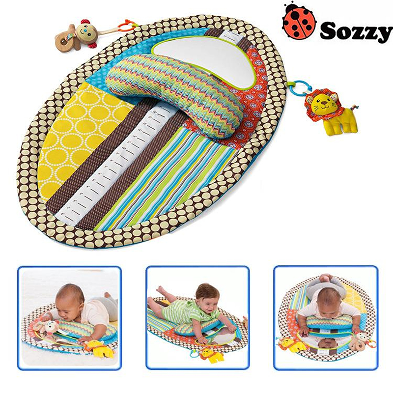 Sozzy Baby Playing Mat with Cute Cartoon Animal Plush Doll Multifunctional Crawling Big Size Mat Baby Toys #E